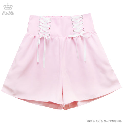 Lace Up Shorts - Pink