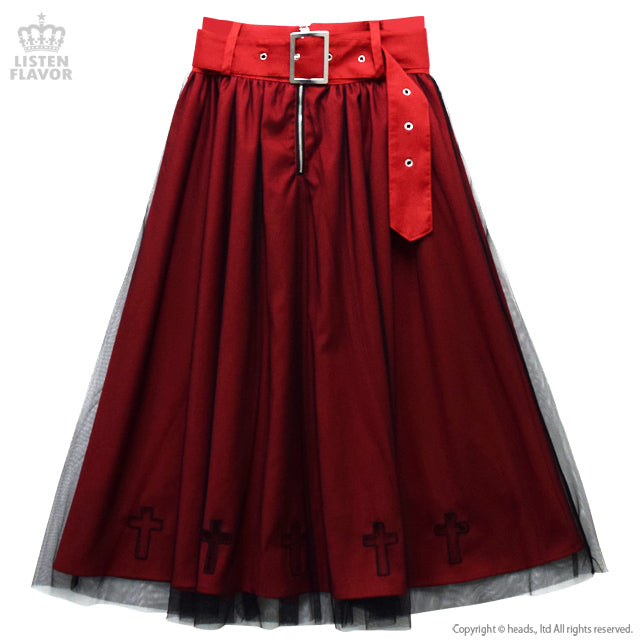 Maxi Skirt with Cross-Cut Tulle Layered Belt - Red