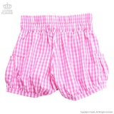 Gingham Lace Up Short Pants - Pink