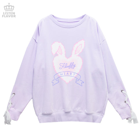 Fluffy Heart Sleeve Lace Pullover - Lavender