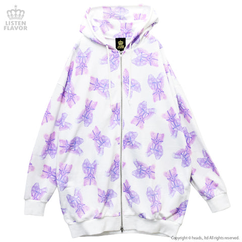 Harness Bear Full Pattern Parka - White