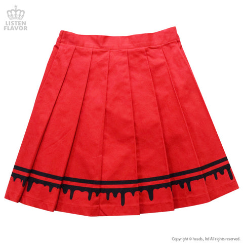 Melty Line Pleated Skirt - Red