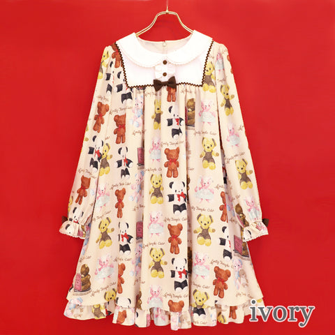 Fluffy Bears A Line Dress - Ivory