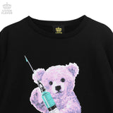 Injection Bear Big Pullover - Black x Purple