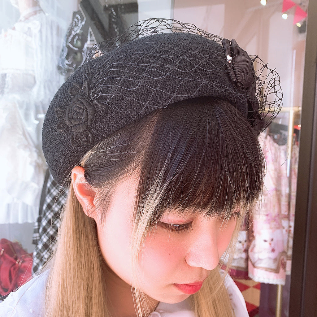 Ribbon Tulle Summer Beret - Black