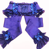 Chiffon Trim Ribbon Corset - Blue