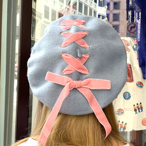 Ribbon Cross Velvet Beret - Sax x Pink
