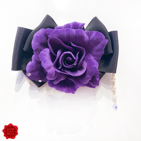 Rose Ribbon Brooch- Black x Lavender