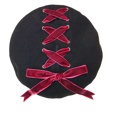 Ribbon Cross Velvet Beret - Black x Wine