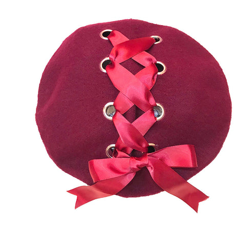Ribbon Cross Satin Beret - Wine x Wine