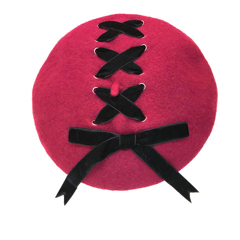 Ribbon Cross Velvet Beret - Wine x Black