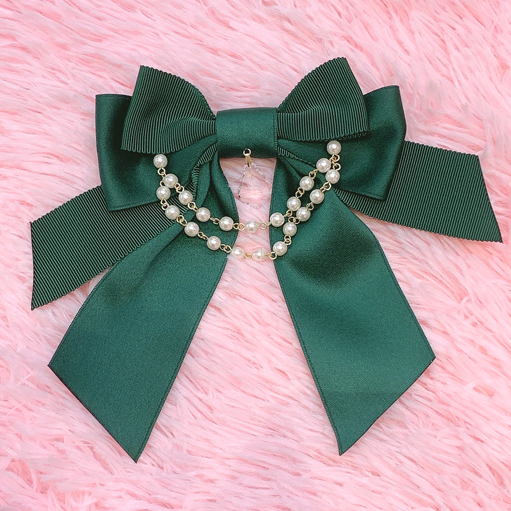 Ribbon Pearl Brooch - Green