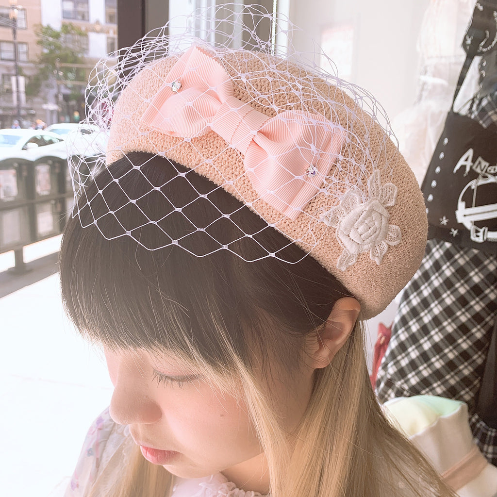Ribbon Tulle Summer Beret - Pink