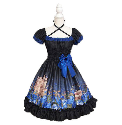 Little Briar Rose One Piece - Black x Blue