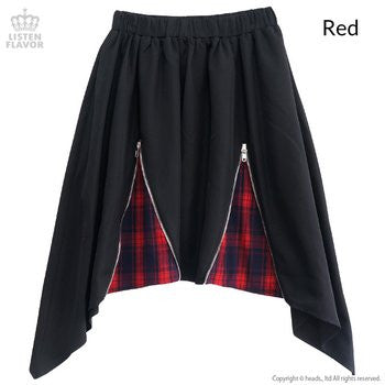 Zippered Hem Line Skirt - Red