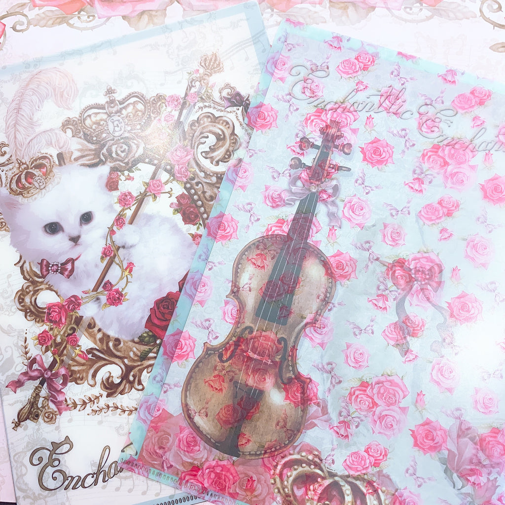 2 Piece Cat and Violin Clear Files