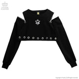 Heart Planet Shoulder Zip Crop Top - Black