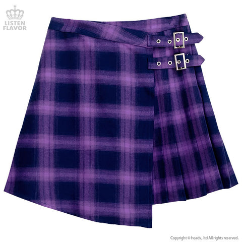 Asymmetric Pleated Skirt  - Purple Check