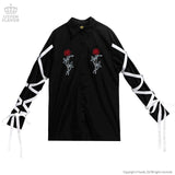 Rose & Knife Ribbon Sleeve Shirt - Black