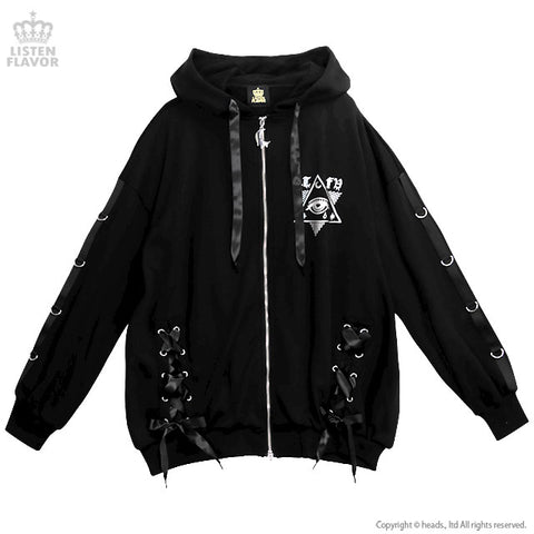 Mysterious Eyes Lace Up Zip Parka- Black