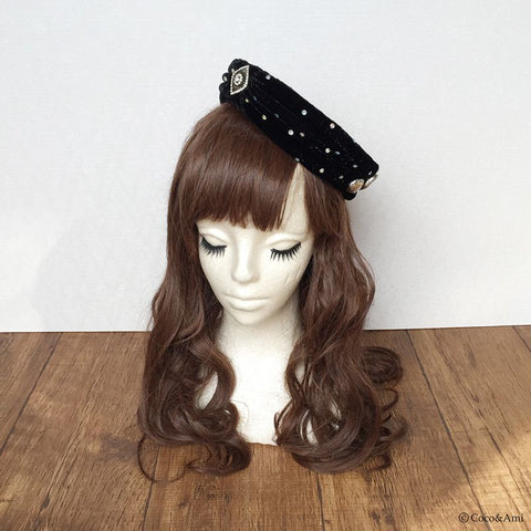Velvet Toque Hat - Black