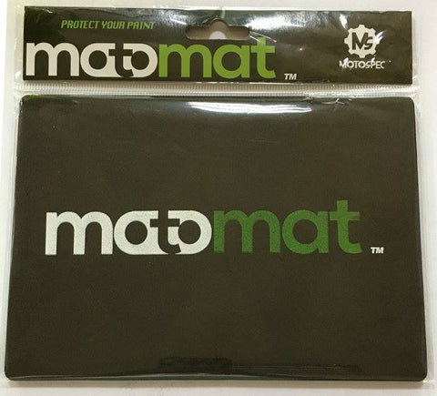 Picture of a black colored MotoMat in package