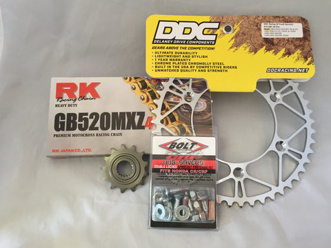 Honda Moto Kit: Gold RK MXZ4 Chain (Non O-Ring)