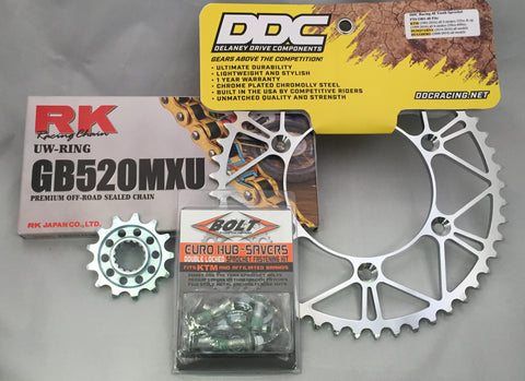 Sprocket and chain combo package with bolts.