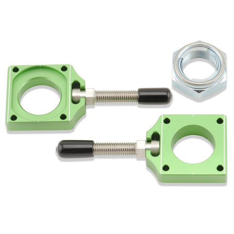 Green colored chain adjuster blocks for Kawasaki dirt bikes
