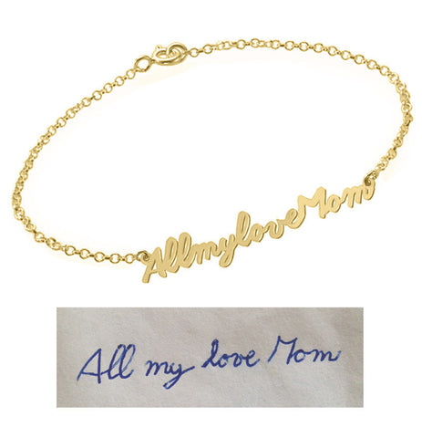Handwriting Bracelet 18k Gold plated pendant select any Name, signature, or handwritten phrase made with 925 silver