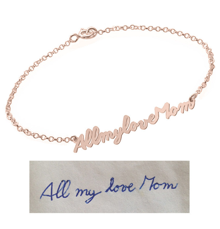 Handwriting Bracelet 18k Rose plated pendant select any Name, signature, or handwritten phrase made with 925 silver