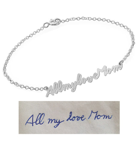 Handwriting Bracelet Silver pendant select any Name, signature, or handwritten phrase made with 925 silver