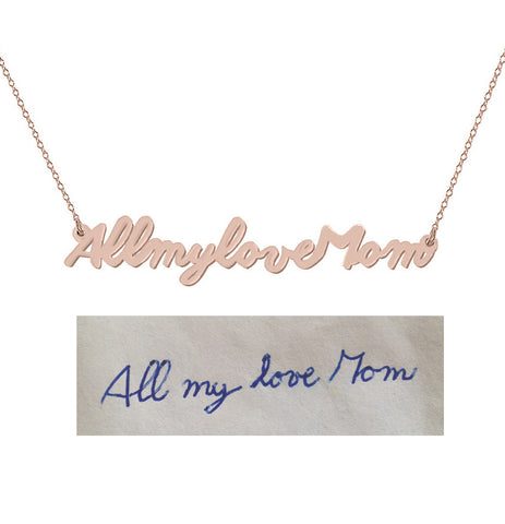 Handwriting necklace 18k Rose gold plated pendant select any Name, signature, or handwritten phrase made with 925 silver