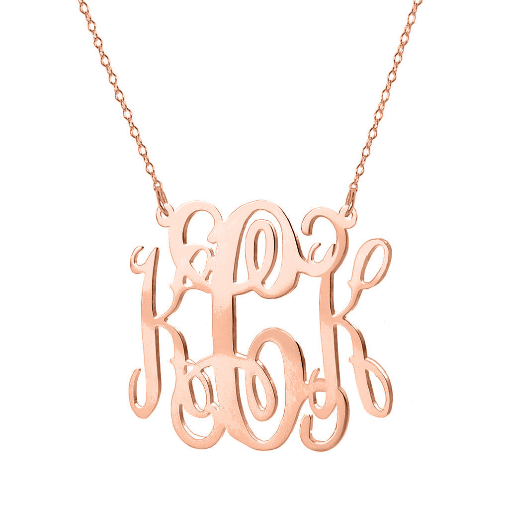 "Rose Gold monogram necklace 1"" inch 18k Rose plated pendant 925 silver rose plated"