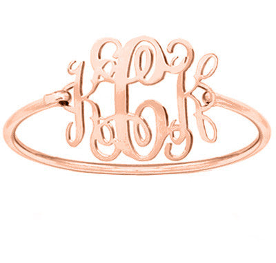 Rose Gold monogram bracelet 1.25 inch 18k Rose gold plated pendant select any initial made with 925 silver and Rose plated