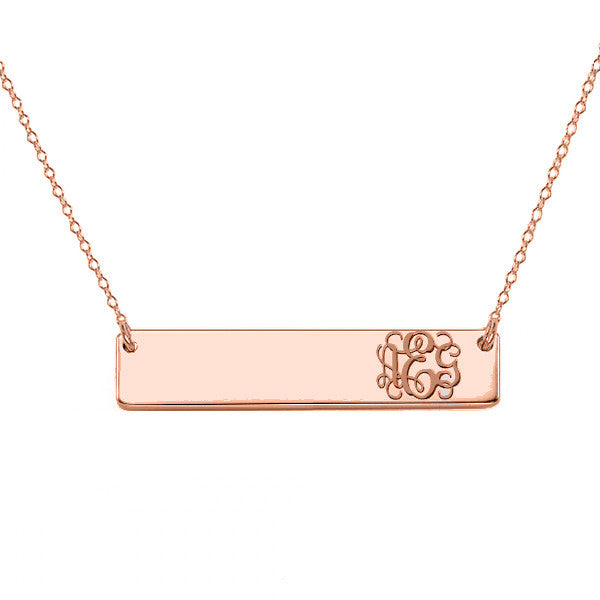 "14k Rose Gold monogram bar necklace 14k solid rose gold pendant Personalize nameplate select any initial 1"" inch"