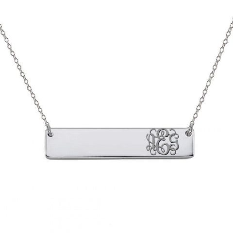 "14k White Gold monogram bar necklace 14k solid white gold pendant Personalize nameplate select any initial 1"" inch"