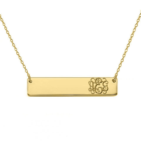 "Gold monogram bar necklace 18k gold plated pendant select any initial made with 925 silver and gold plated 1.5"" inch"