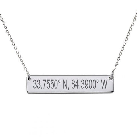 "14k White Gold Coordinate bar necklace 1"" inch 14k solid white gold pendant Personalize nameplate with Latitude or GPS coordinates"