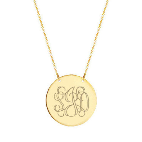"14k Gold monogram Disc necklace 14k solid gold pendant Personalize Disc select any initial 1/2"" inch"