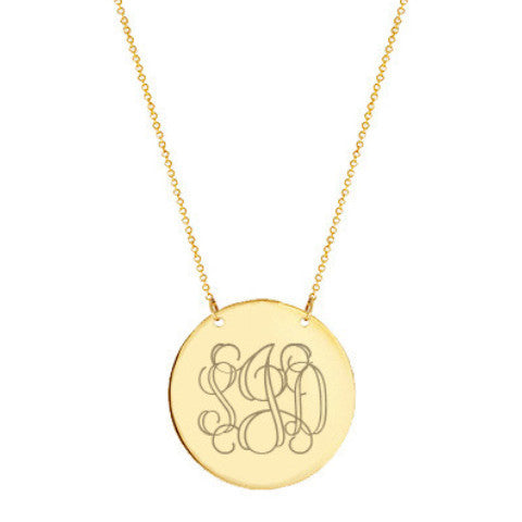 "Gold monogram Disc necklace 1"" Inch 18k gold plated Circle pendant select any initial made with 925 silver and gold plated"