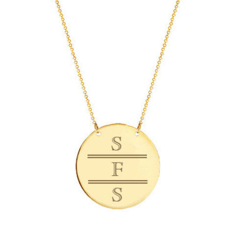 "Gold monogram Disc necklace 2"" Inch 18k gold plated Circle pendant select any initial made with 925 silver and gold plated"