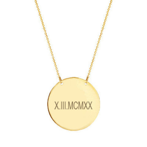 a8f75cf3f7810 14k Gold Roman numeral Disc necklace 1/2