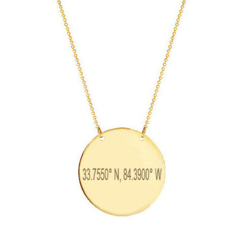 "14k Gold Coordinate disc necklace 1/2"" inch 14k solid gold pendant Personalize Disc with Latitude or GPS coordinates"