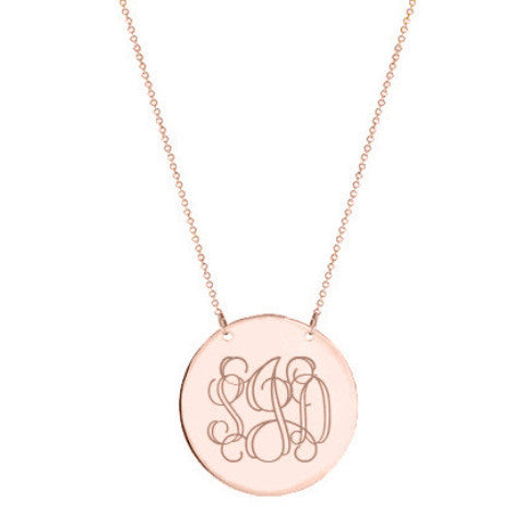 "Rose Gold monogram Disc necklace 1.5"" Inch 18k rose gold plated Circle pendant select any initial made with 925 silver and rose gold plated"