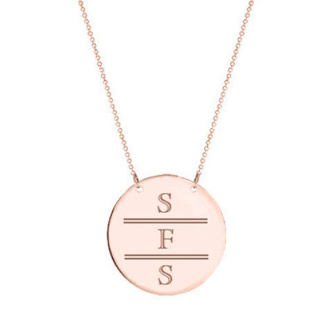 "Rose Gold monogram Disc necklace 2"" Inch 18k rose gold plated Circle pendant select any initial made with 925 silver and rose gold plated"