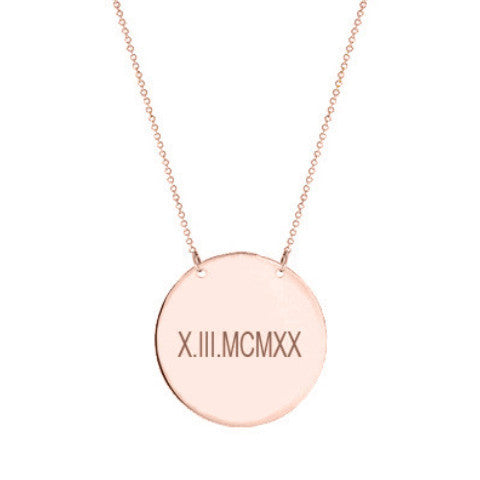 "14k Rose Gold Roman numeral Disc necklace 1/2"" inch 14k solid rose gold pendant Personalize disc with Anniversary or birthday dates"