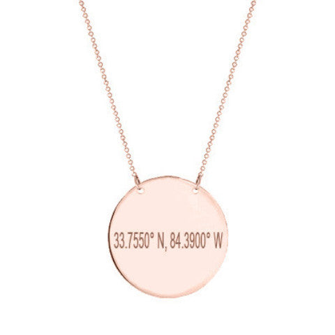 "14k Rose Gold Coordinate disc necklace 1/2"" inch 14k solid Rose gold pendant Personalize disc with Latitude or GPS coordinates"