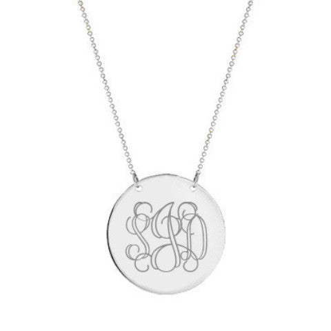 "Silver monogram Disc necklace 1.5"" Inch Silver Circle pendant select any initial made with 925 silver"