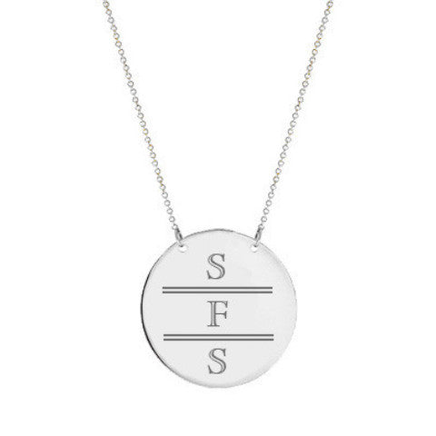 "Silver monogram Disc necklace 2"" Inch Silver Circle pendant select any initial made with 925 silver"